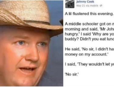 Split image of Johnny Cook and his Facebook post