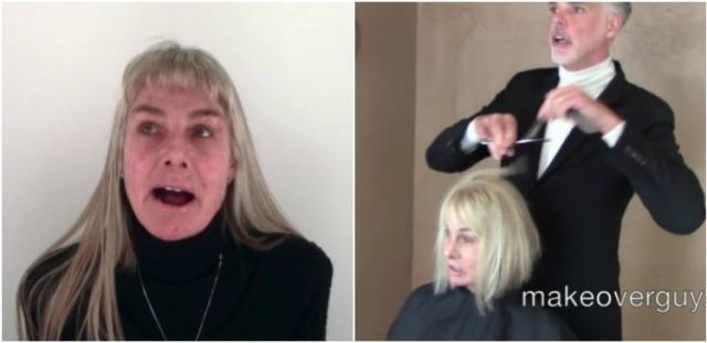 Woman before and in the middle of her haircut.