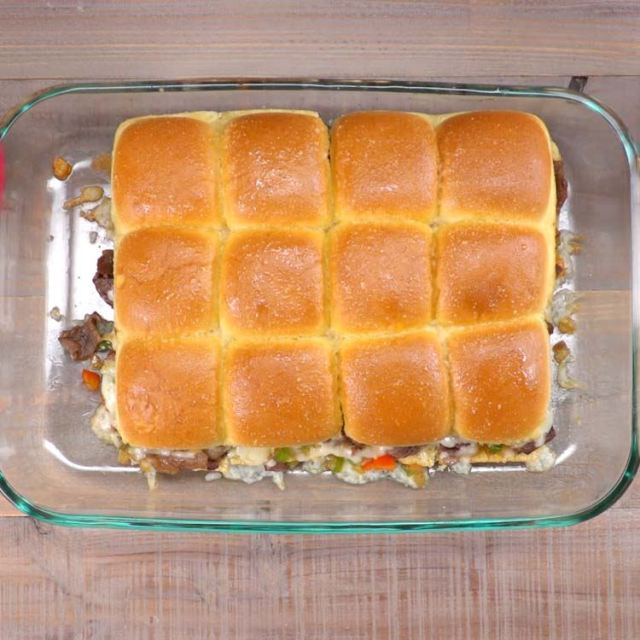 Philly Cheesesteak Sliders whole thing in baking dish