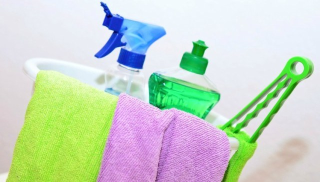 Image of cleaning supplies and bucket.