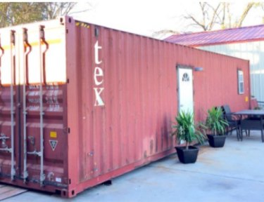 red shipping container home