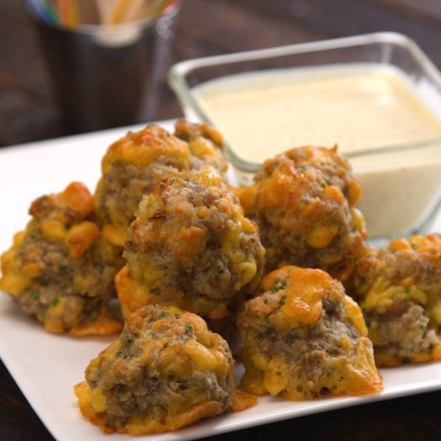 Our crowd-pleasing sausage balls recipe makes the easiest, tastiest, most addictive little party bites.