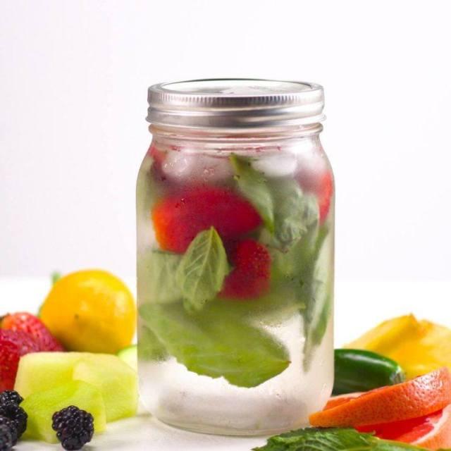Fruit Infused Detox Water strawberry basil frosty glass fruit mason jar