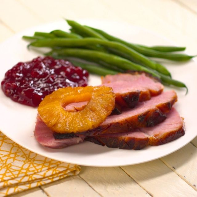 Old Fashioned Baked Ham with Pineapple & Maple Brown Sugar Glaze cranberry sauce green beans