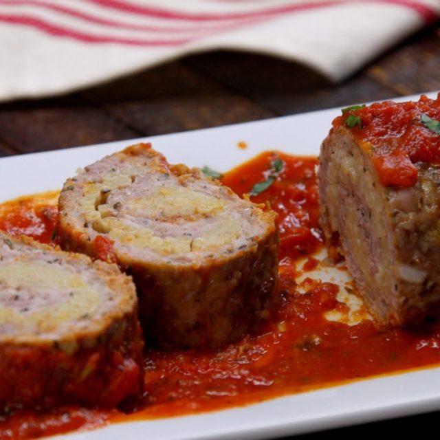 Pasta-Stuffed Meatloaf Roll slices