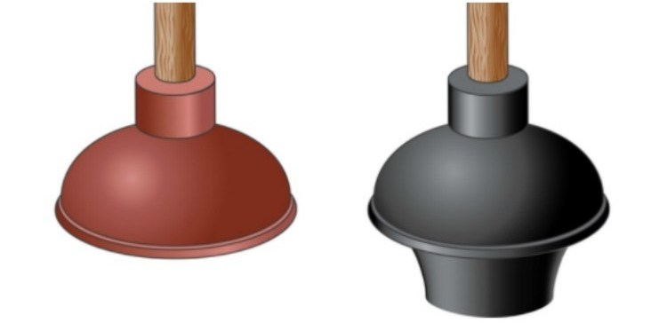 sink plunger next to a toilet plunger