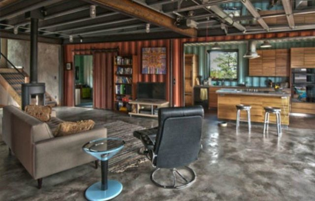 shipping container indoors