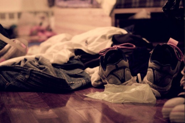 clothes on floor