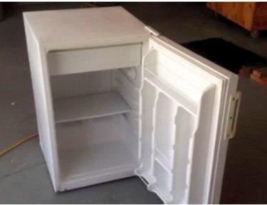 close-up of mini-fridge