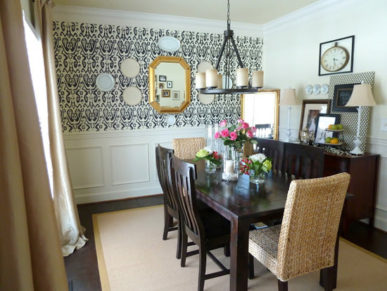 Unique Dining Room Paint Ideas With Accent Wall How To Stencil A For Decorating