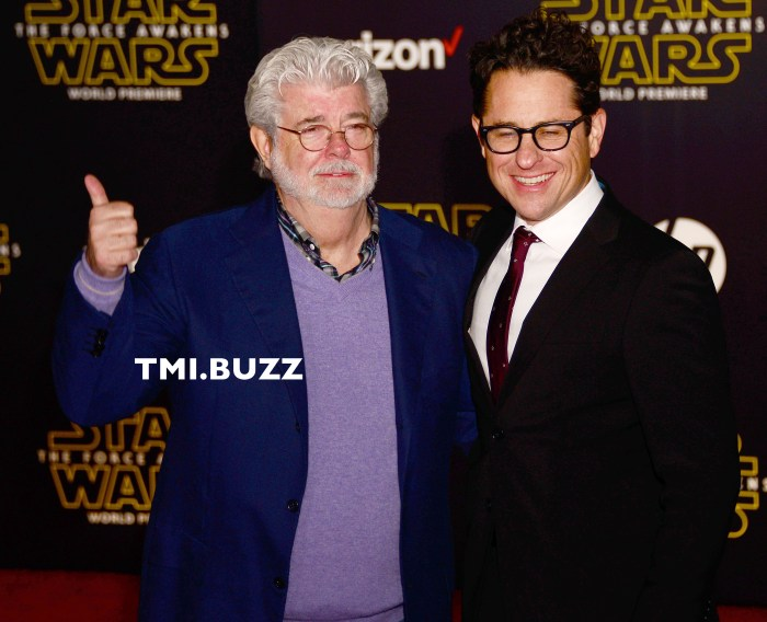 George Lucas and J.J. Abrams at Premiere Of Walt Disney Pictures And Lucasfilm's 'Star Wars: The Force Awakens' on December 14, 2015 in Hollywood, California