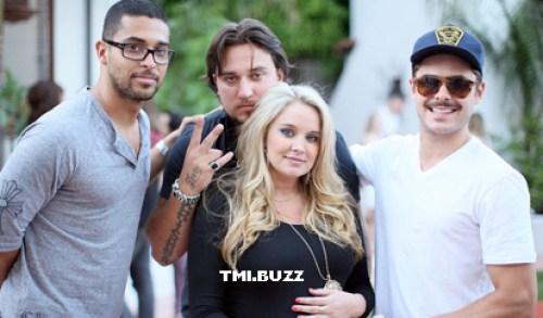 Pictured:Wilmer Valderama, Chris Carney, Tiffany Thornton, and Zac Efron at Tiffany's baby shower in July 2012