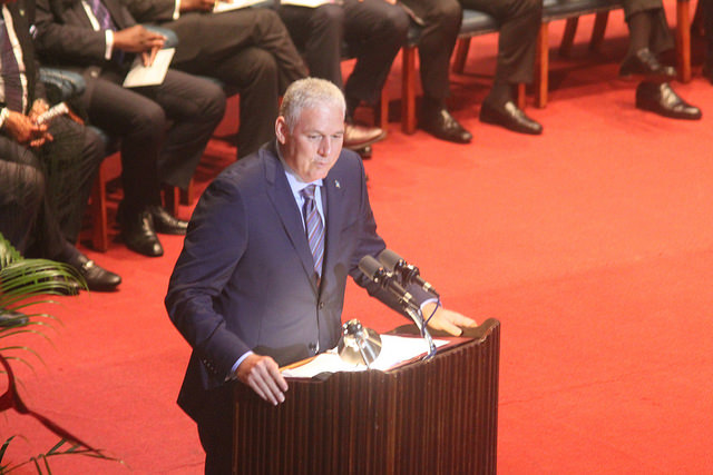 Prime Minister of Saint Lucia, The Hon. Allen Chastanet who is the most recently elected Head of Government in CARICOM, delivers his inaugural speech at the 37th Regular Meeting of the Conference of Heads of Government of the Caribbean Community (CARICOM) which was held at the National Cultural Centre, Guyana on CARICOM Day, Monday 4th July.