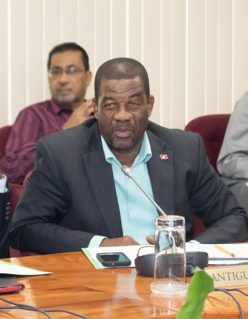Minister of Agriculture, Lands, Fisheries and Barbuda Affairs of Antigua and Barbuda, the HOn. Arthur Nibbs, briefs his colleagues at the 71st Special Meeting of COTED on Agriculture