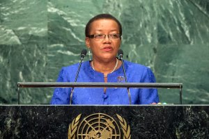 Foreign Minister Maxine Pamela Ometa McClean of Barbados . (Photo via UN/Cia Pak)