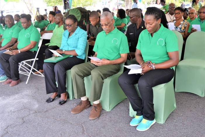 Dr. Therese Yarde, Project Coordinator, Caribbean Hub Capacity Building related to Implementation of Multilateral Environmental Agreements,(third row, second from right) at the Earth Day ceremony in Guyana on 21 April, 2017.  She joined President of Guyana, His Excellency David Granger, Chairman of CARICOM (front row, second from right), Minister of Education Sport and Culture, the Hon.  Nicolette Henry (front row, third from right) and others for the ceremony at Independence Park in Georgetown. (Ministry of the Presidency photo)
