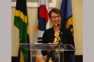 CARICOM_Korea_Kamina-Johnson-Smith-at-CARICOM-Korea-meeting