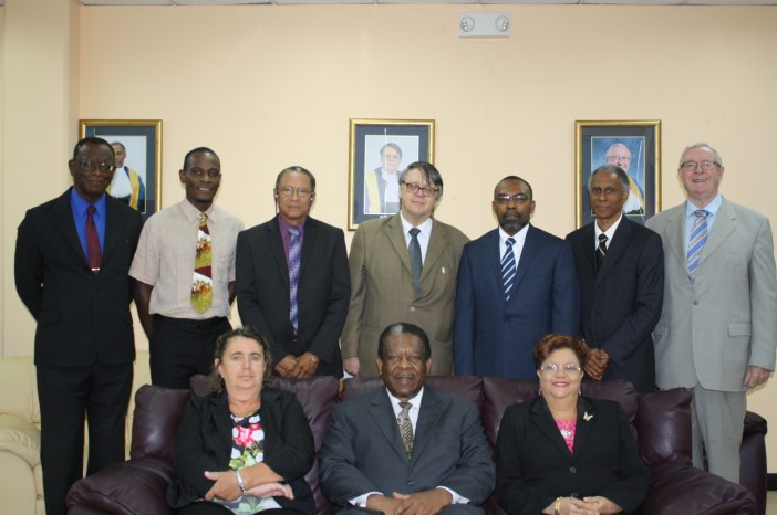 Judges of the CCJ and members of the ACP Legal/OHADAC Project delegation. (Photo via CCJ)