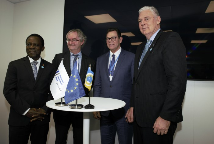 High-level officials during the event hosted by EIB at COP23 on November 13, 2017. From left to right: Dr. the Rt. Hon. Keith Mitchell, Prime Minister of Grenada, Chairman of CARICOM and Chairman of the Board of Governors of CDB; Jonathan Taylor, Vice President, EIB; Dr. Wm. Warren Smith, President, CDB; Hon. Allen Chastenet, Prime Minister of Saint Lucia. (Photo via CDB)