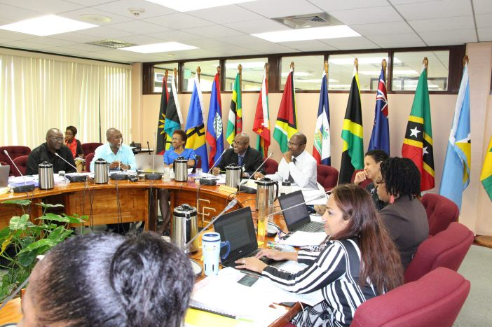 Delegates share a light moment on Monday during the first of the two-day preparatory session of the 42nd Meeting of the Council for Trade and Economic Development (COTED), at the CARICOM Secretariat, Georgetown, Guyana.
