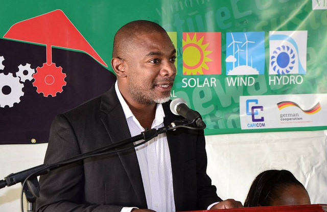 Dr. Devon Gardner, Programme Manager, Energy, CARICOM Secretariat, addresses the launch of CARICOM Energy Week 2014 in St. Vincent and the Grenadines, Monday 17 November