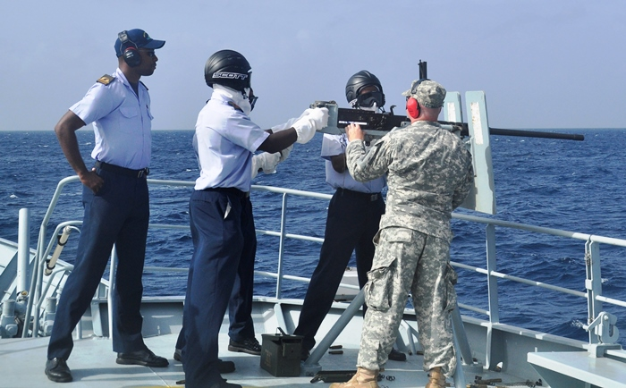 Firing at sea. (Photo via BGIS)