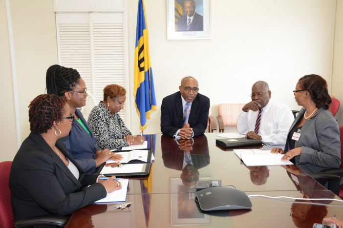 Minister in the Office of the Prime Minister, Senator Darcy Boyce (centre) meets Jamaica's CSME Focal Point, Symone Betton-Nayo (right) on the first day of a five-day visit to Barbados under the 10th European Development Fund. Also present were: (from left) Economist I, Rhea Clarke-Mason; Chief Research Officer, Paula Byer; Permanent Secretary in the Prime Minister's Office, Sonja Welch and Barbados' Ambassador to CARICOM, Robert 'Bobby' Morris. Missing is Permanent Secretary (Defence and Security), Timothy Maynard. (Photo by A. Miller via BGIS)