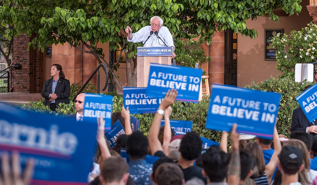 Presidential candidate Bernie Sanders speaks to a large crowd of 5804 people on a visit to the Chico State campus for a rally on Thursday, June 2, 2016 in Chico, Calif. (Jason Halley/University Photographer)