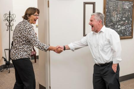 New President Gayle Hutchinson (left) meets with Interim Provost Mike Ward (right) on her official first day of work on Tuesday, July 5, 2016 in Chico, Calif. (Jason Halley/University Photographer)