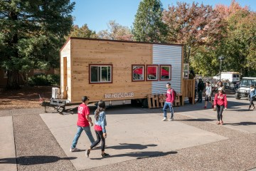 The Chico State Tiny House Club gave a tour of their 196 sq. ft tiny house to the campus on Wednesday, October 26, 2016 in Chico, Calif. (Jason Halley/University Photographer)