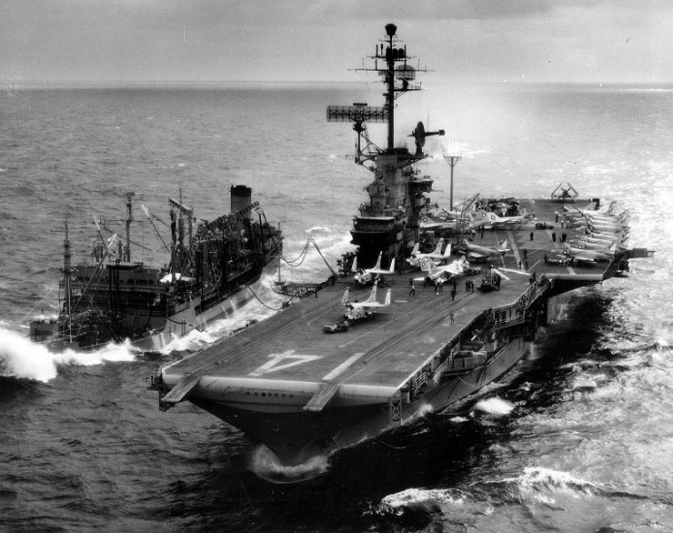 The U.S. aircraft carrier Ticonderoga ( while operating off the coast of Vietnam)