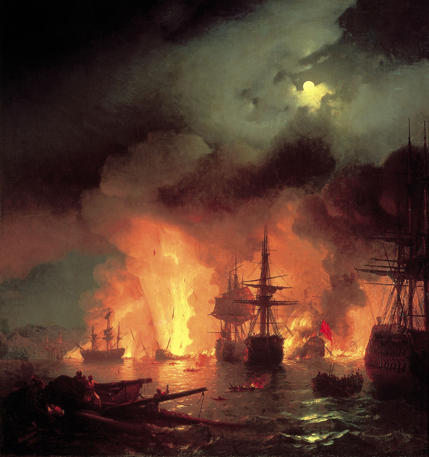 Russian artist Ivan Aivazovsky Chesmensky fight, oil on canvas (1848)