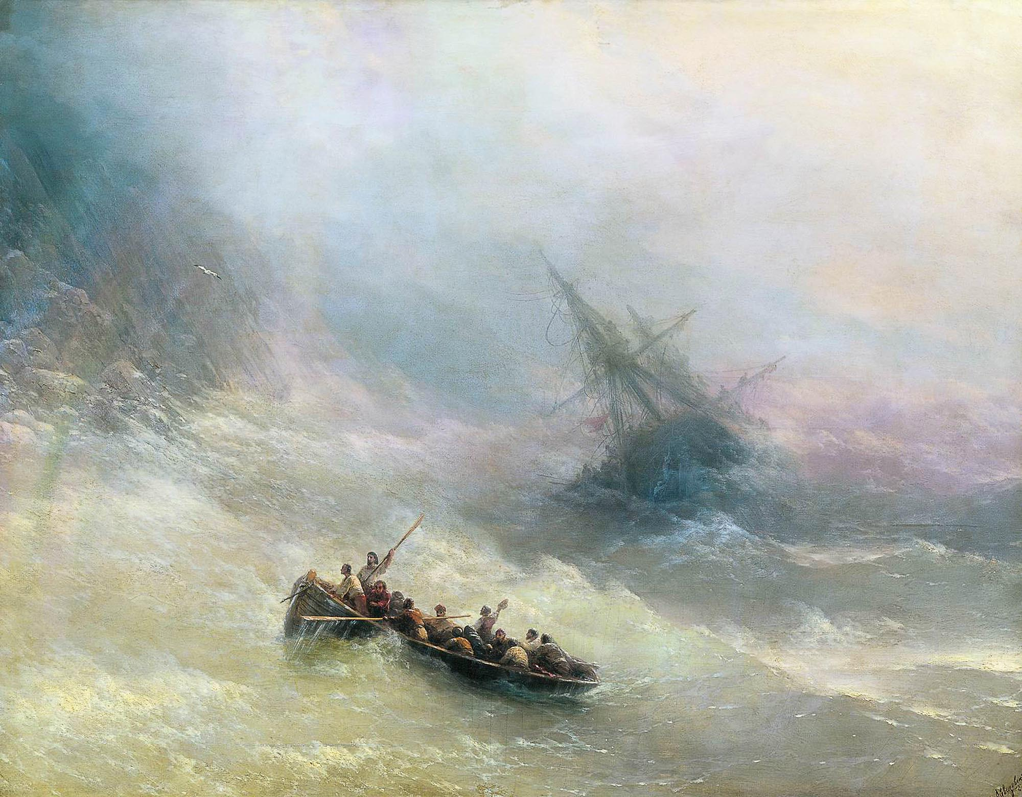 Russian artist Ivan Aivazovsky Rainbow, oil on canvas (1873)
