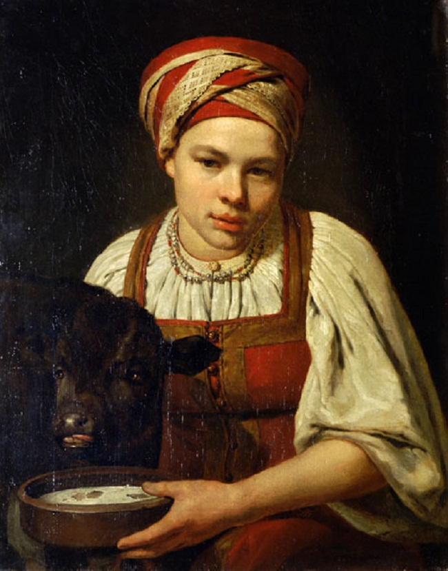 A peasant girl with a calf (1820s). Alexey Venetsianov