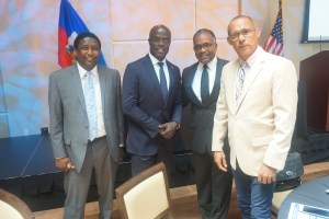 Left Broward County Commissioner Dale Holmes, Consulate Of Haiti Gandy Thomas, HAMCC President Jean-Pierre Turgot, President Panexus Haiti, Gilbert Hippolyte