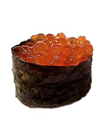Salmon Roe (known as ikura in Japanese). Roe are fish eggs.