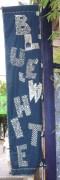 blue and white sashiko sign