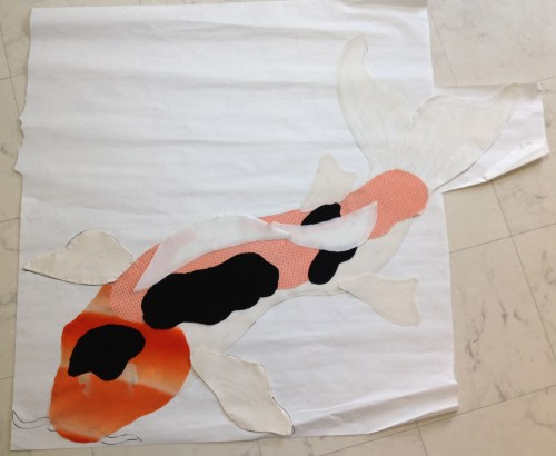 black white orange koi