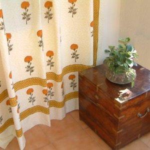 saffron marigold wedding day yellow shower curtain