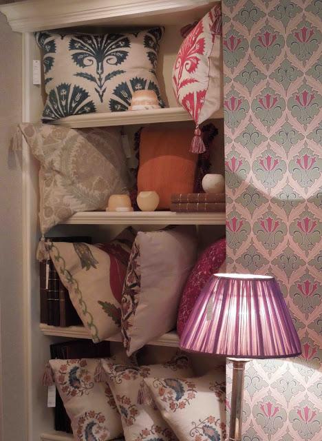Tone on Tone Robert Kime shop Palmetto pillows carnation