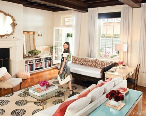 Madeline Weinrib White & Black Mandala Tibetan Carpet in home of model Miranda Kerr, photographed by Jason Schmidt for Vogue glass and brass coffee table