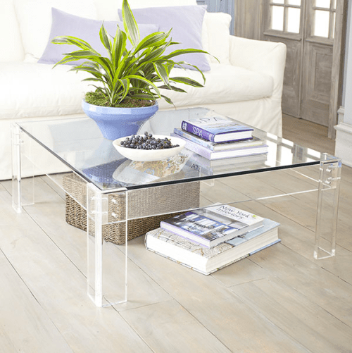 Wisteria lucite and glass square coffee table