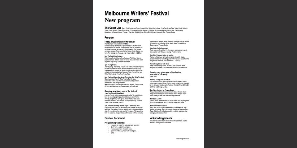 Melbourne Writers' Festival Parody Program
