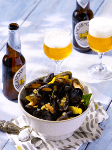 Lemon and Shallot Mussels with Blanche de Chambly
