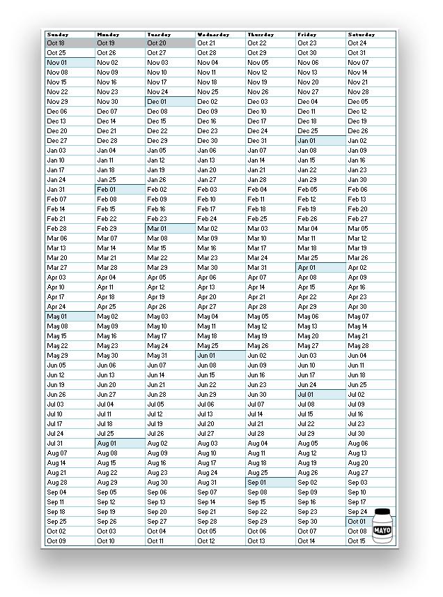 1 Page Annual Calendar