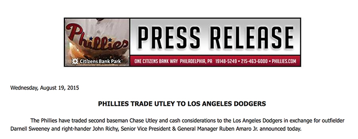 This is the email the media got announcing the Chase Utley trade.