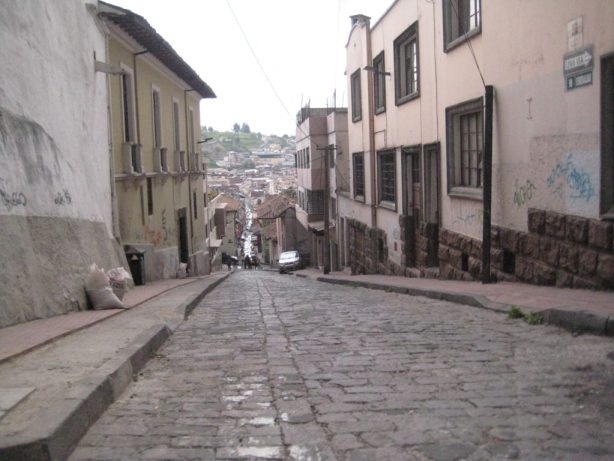 Picture of cobblestone street in the old city of Quito, Ecuador