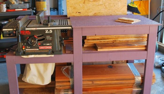 Table Saw Workbench with Wood Storage