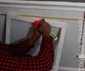 apply glue to frame