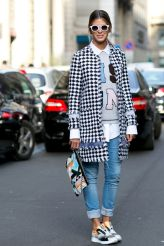 from fashion week white button down shirt and cuffed jeans